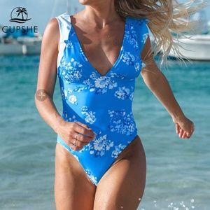 Ruffle Blue Floral One Piece